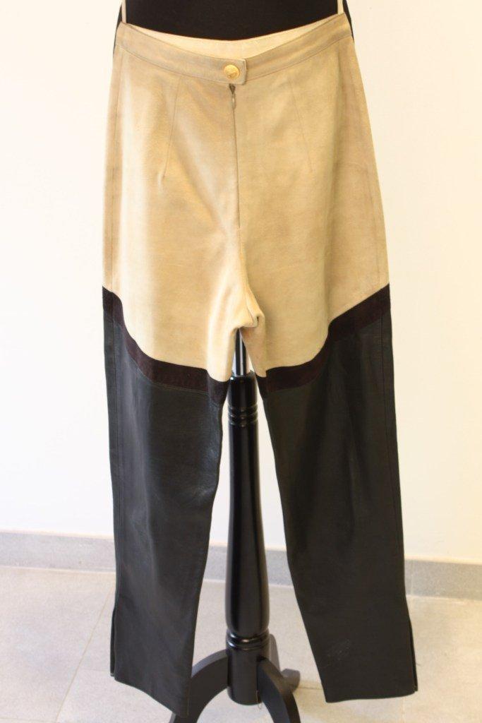 HERMES - Pantalon jodhpur en veau velours crème et cuir