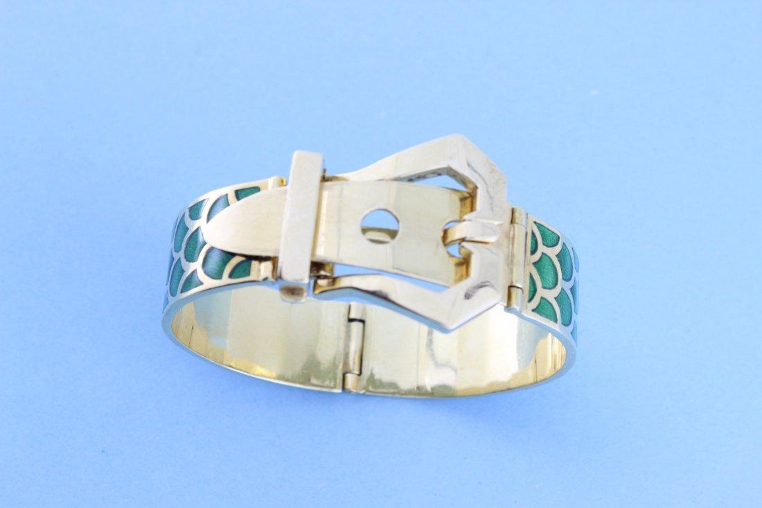 """Bracelet """"boucle"""" en or à l'imitation d'écaille rehauss"""
