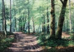 Michel TRAPEZAROFF (1947) Matin dans la forêt Huile sur