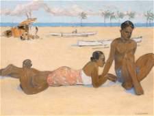 Fernand LANTOINE (1876/78-c.1955) Scène de plage dans