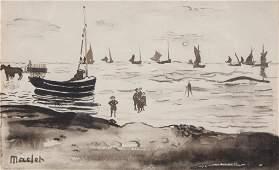 Elisée MACLET (1881-1962) Scène de plage Lavis d'encre