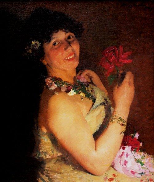 Henri  MARTIN (1860-1943) Femme à la fleur rouge - 1887