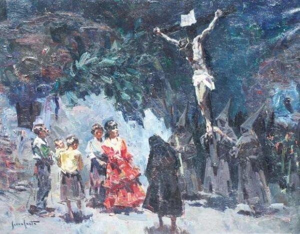 José SERRASANTA (1916 - 1998) La procession Huile sur