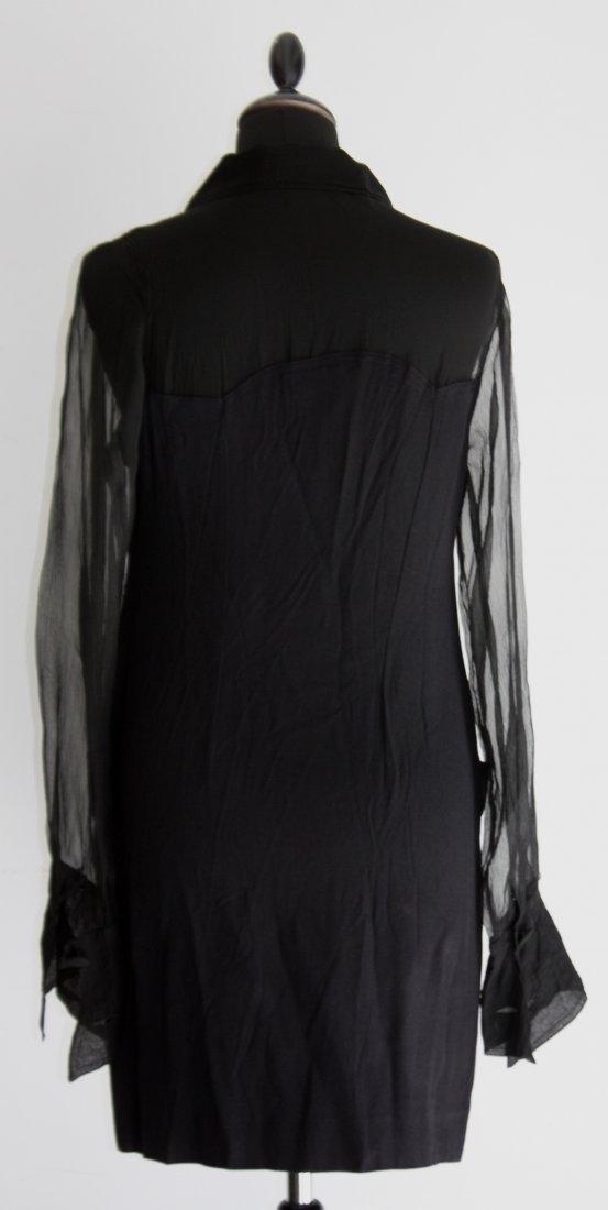 BALENCIAGA Robe mi- longue. Col chemisier. Empiècement