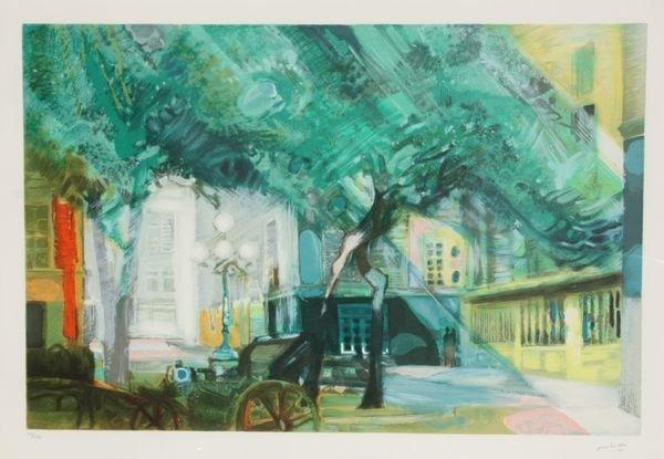 Paul AMBILLE (1930-2010)  Le square. Lithographie en co