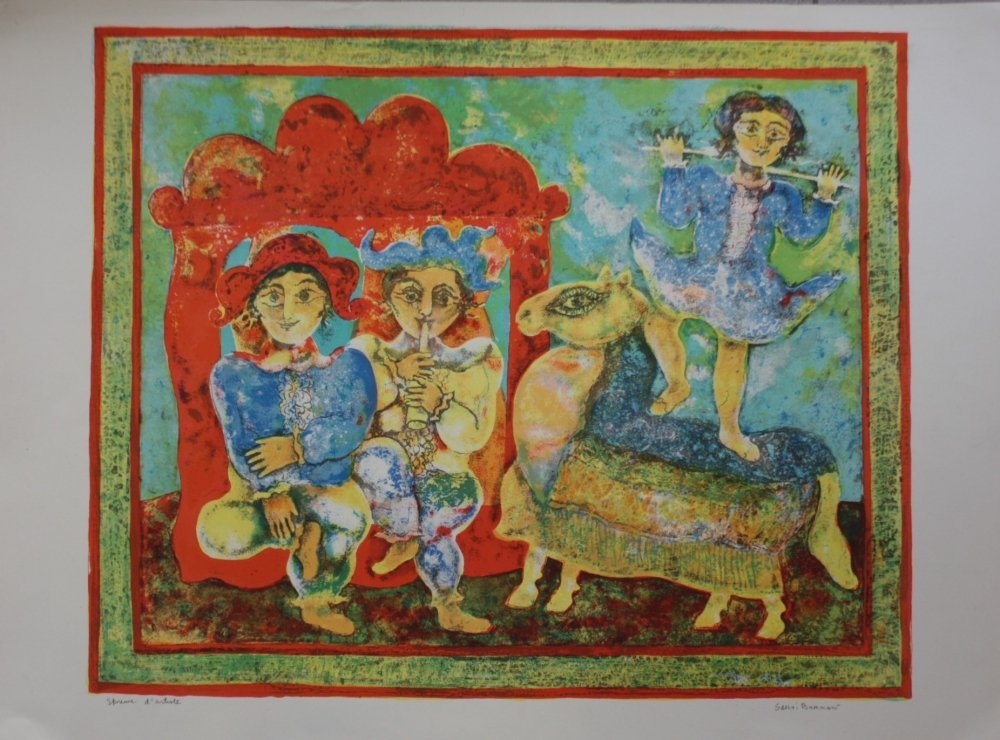 Sakti BURMAN ( 1935 )  Scène de genre en Inde Lithograp