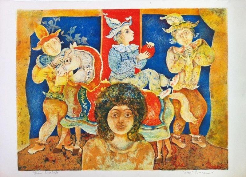 Sakti BURMAN ( 1935 )  Les saltimbanques Lithographie e