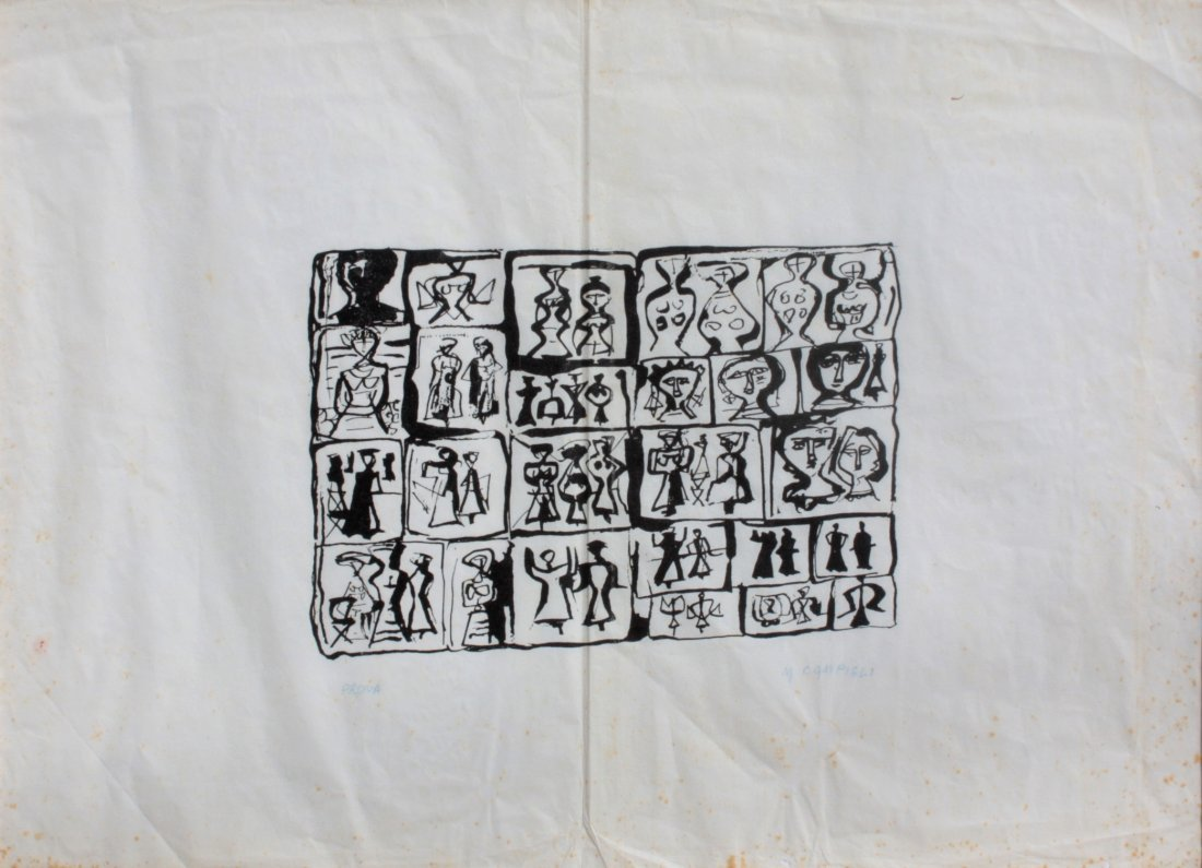 Massimo CAMPIGLI (1895-1971)  Personnages Lithographie