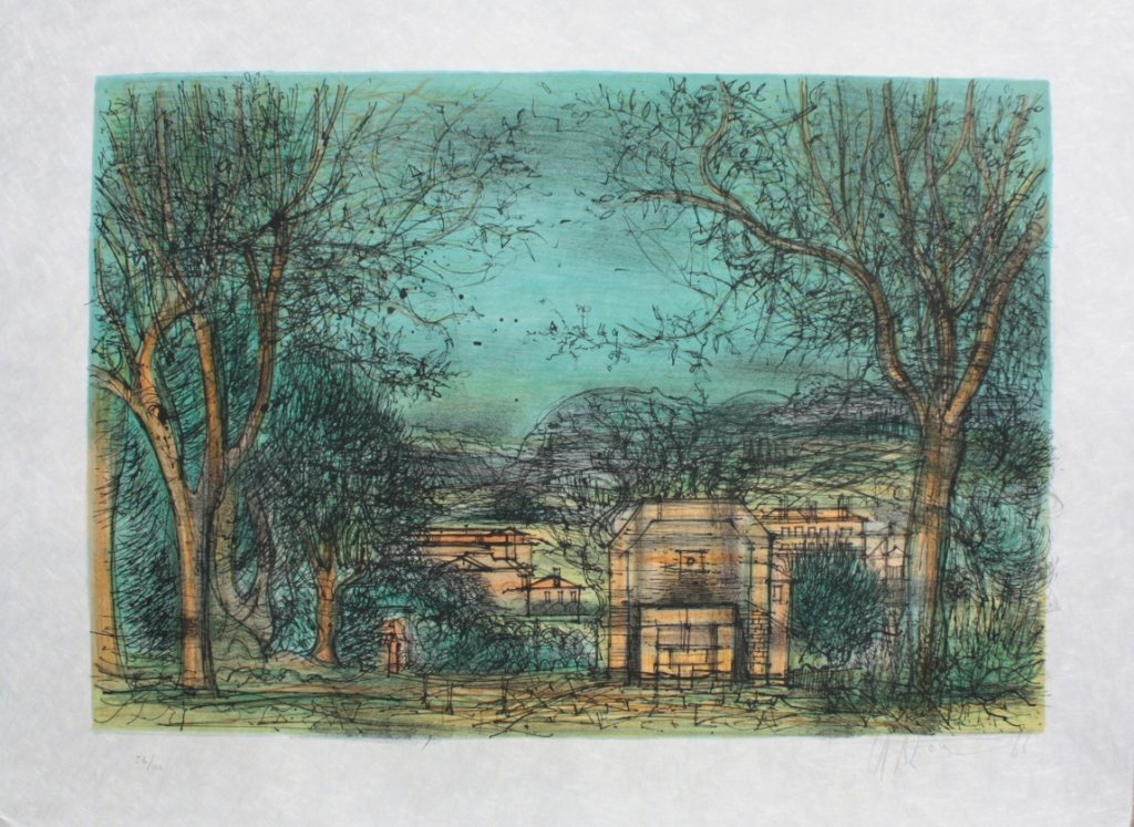 Jean CARZOU Paysage - 1966 lithographie en cou