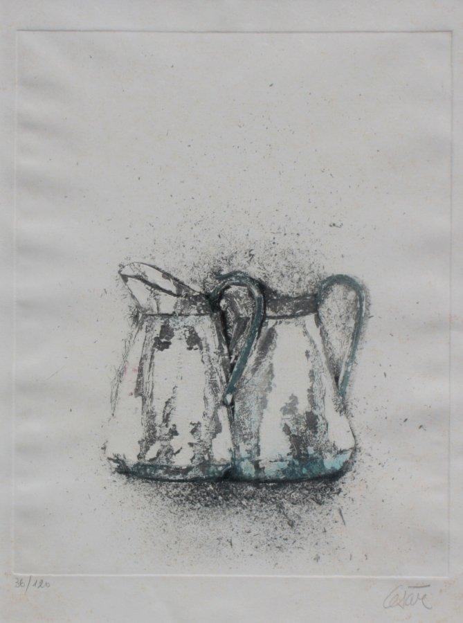 CESAR (1921 - 1998) Deux brocs gravure en couleurs et g