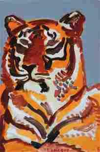 Charles LAPICQUE (1898-1988) Tigre - 1961 Huile sur