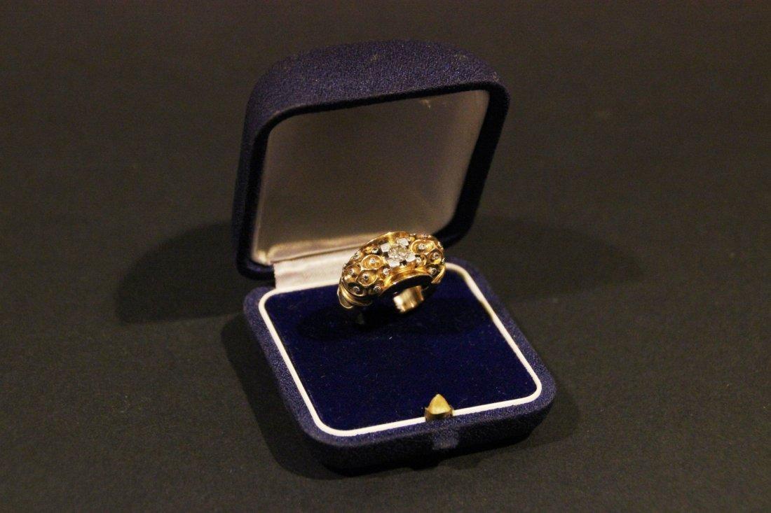 Bague des années 40 en or jaune avec diamant central et