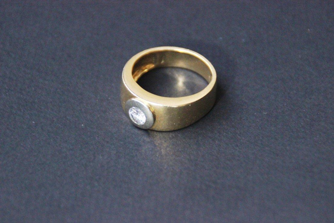 Bague solitaire en or jaune avec diamant, taille 70 P :