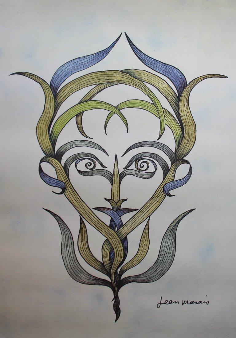 Jean Marais (1913-1998) Profil Lithographie en couleurs