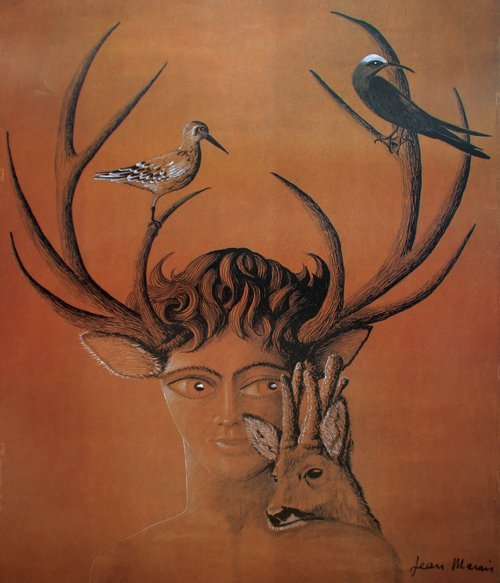 Jean Marais (1913-1998) Le faune aux bois de cerf sur