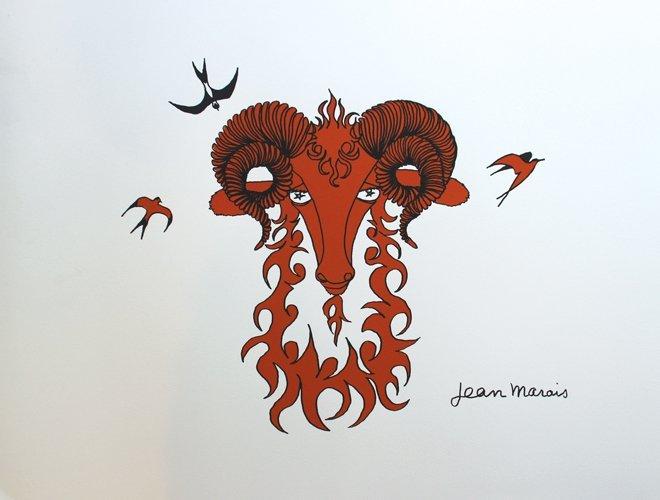 Jean Marais (1913-1998) Tête de bélier Lithographie en