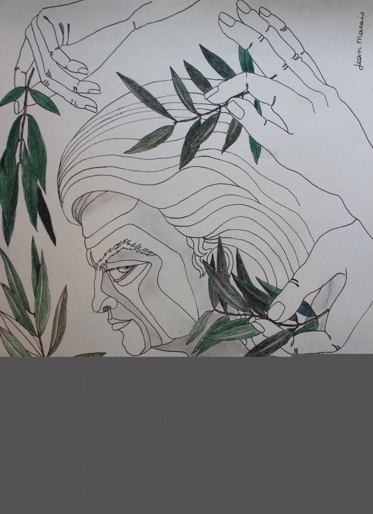 Jean Marais (1913-1998) Profil et feuillages