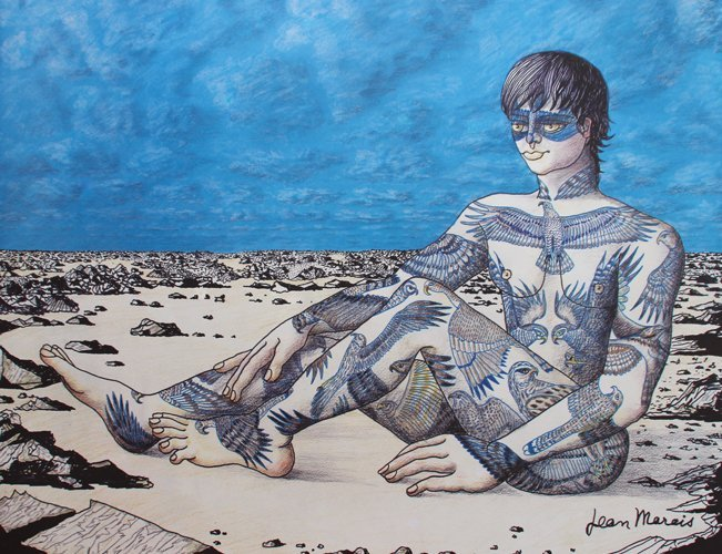 Jean Marais (1913-1998) L'homme tatoué Lithographie en