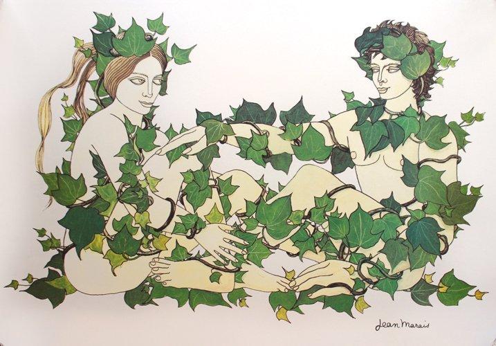 Jean Marais (1913-1998) Adam et Eve Lithographie en