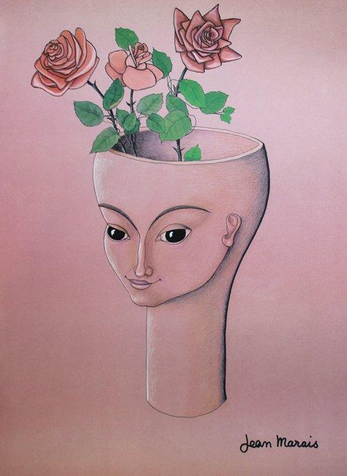 Jean Marais (1913-1998) La femme fleurs Lithographie en