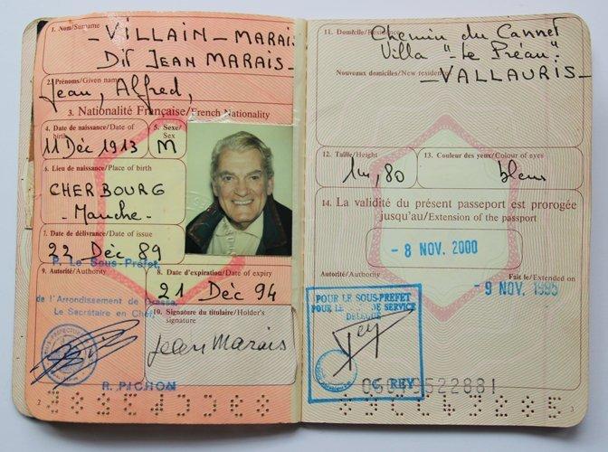 Jean Marais (1913-1998) Passeport de Jean Marais,