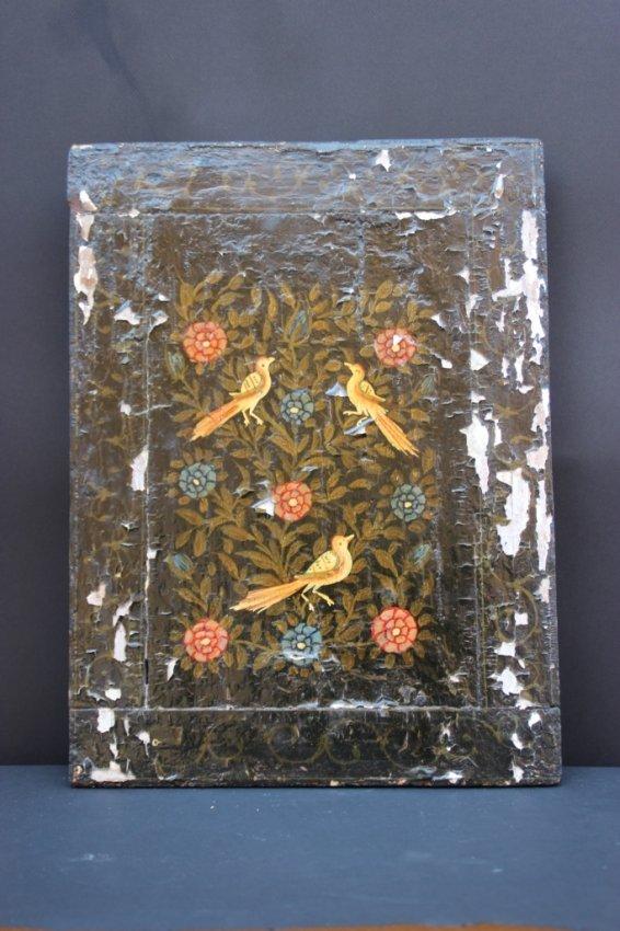 Travail iranien miroir volets en bois peint de lot 364 for Miroir 3 volets