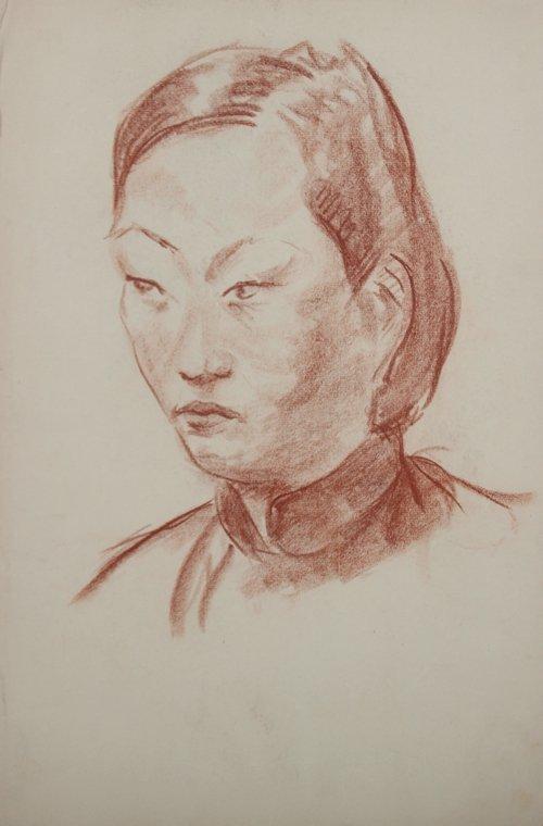 Yves REVELLI (1898-1971) Jeune asiatique Sanguine sur