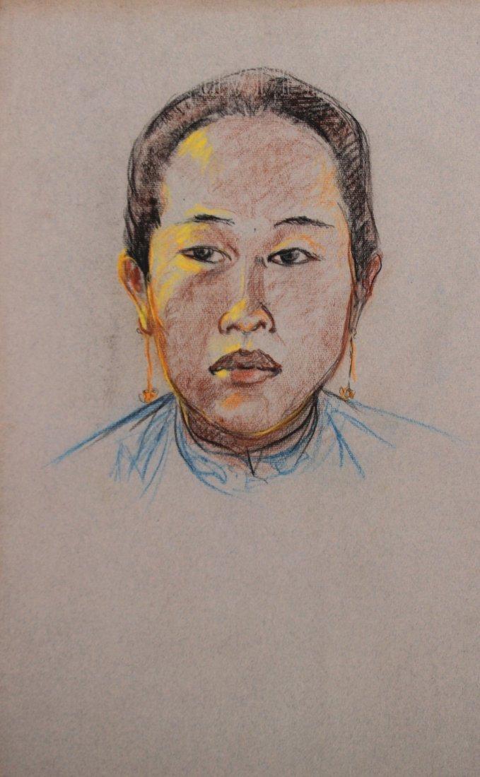 Yves REVELLI (1898-1971) Jeune asiatique de face Pastel