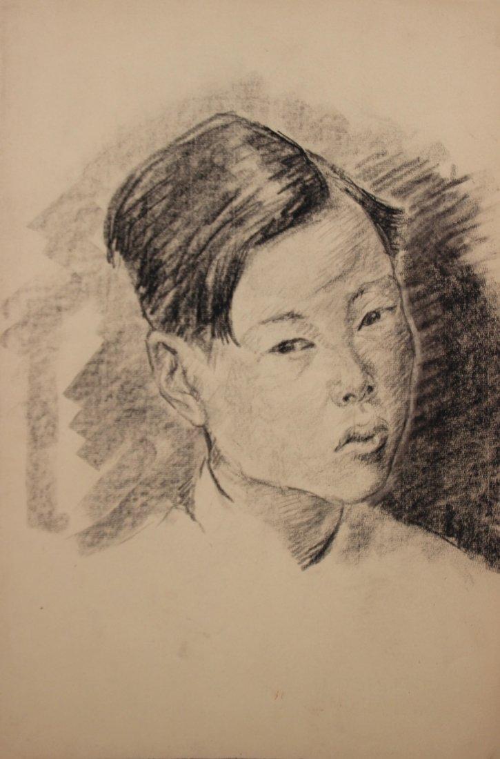Yves REVELLI (1898-1971) Jeune garçon asiatique Fusain