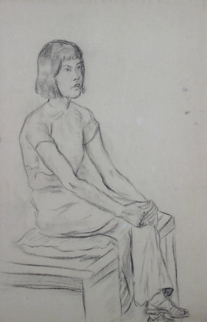 Yves REVELLI (1898-1971) Jeune asiatique assise Fusain