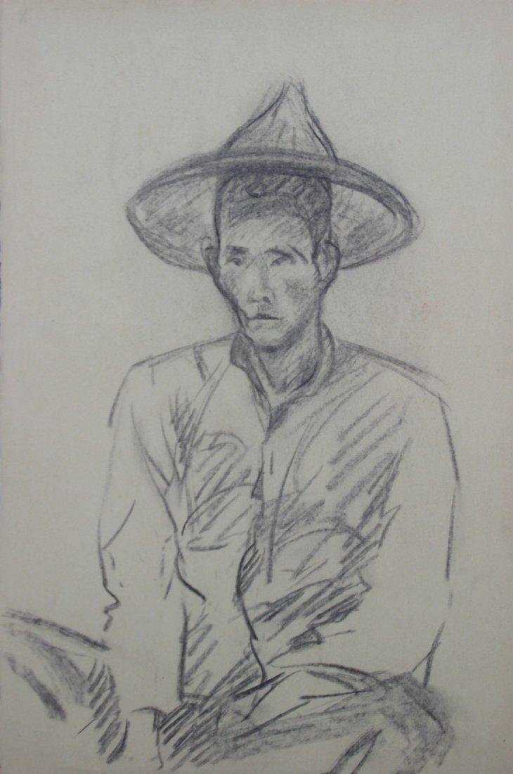Yves REVELLI (1898-1971) Homme asiatique au chapeau