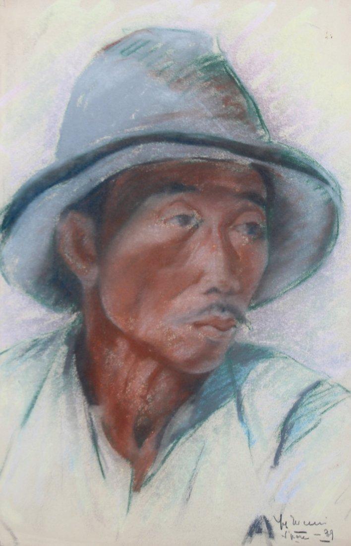 Yves REVELLI (1898-1971) Homme asiatique au chapeau -