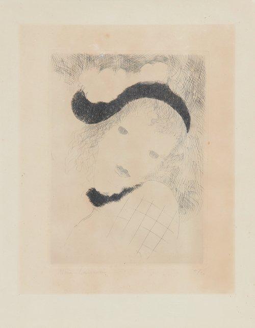 Marie LAURENCIN (1883-1956) Jeune fille en buste au