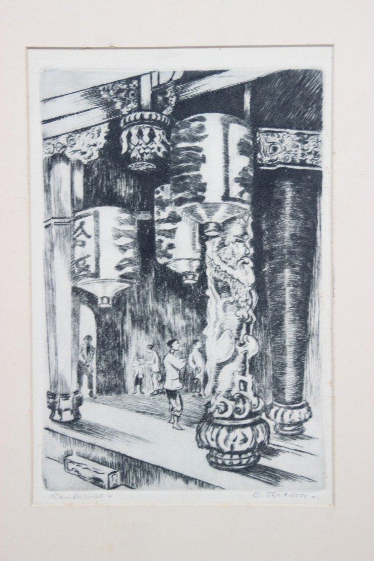 C. JACKSON - Temple chinois Gravure en noir sur papier