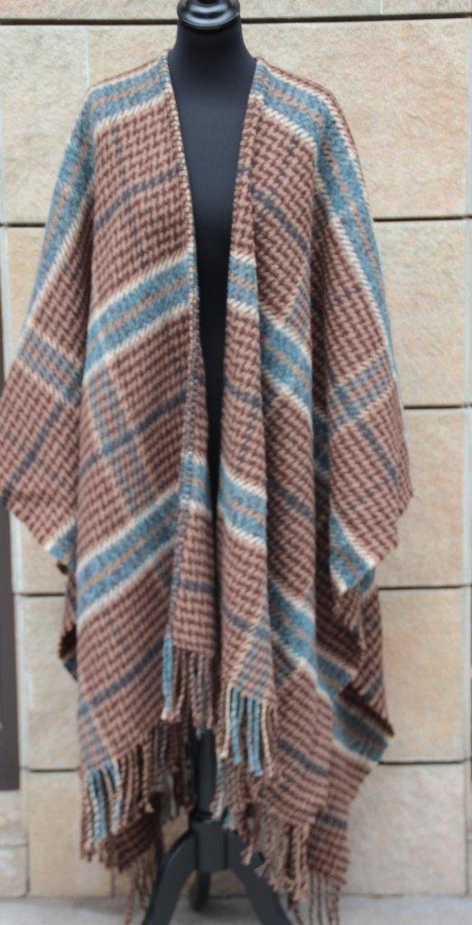 RALPH LAUREN Cape en laine imprimée pied de coq