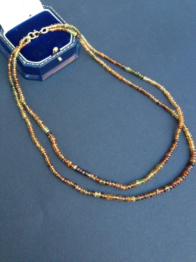 Collier  double rang compos de perles de citrine,