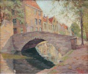 Alexandre Tielens (1868-1959) Pont Sur Un Canal En