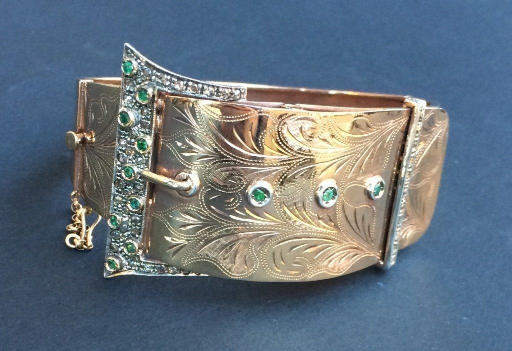 Bracelet ceinture en or jaune 9K orn d'emeraudes et