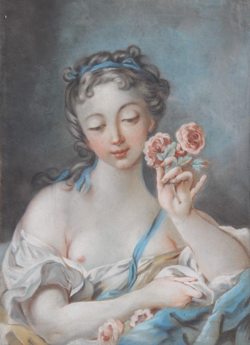 Ecole du XVIIIme sicle Portrait de demoiselle aux