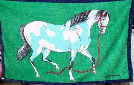 HERMES Serviette de plage  dcor de cheval, dominante