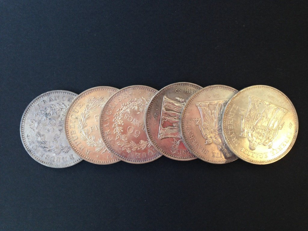 Lot de 6 pièces en argent - 50 francs - entre 1974 et