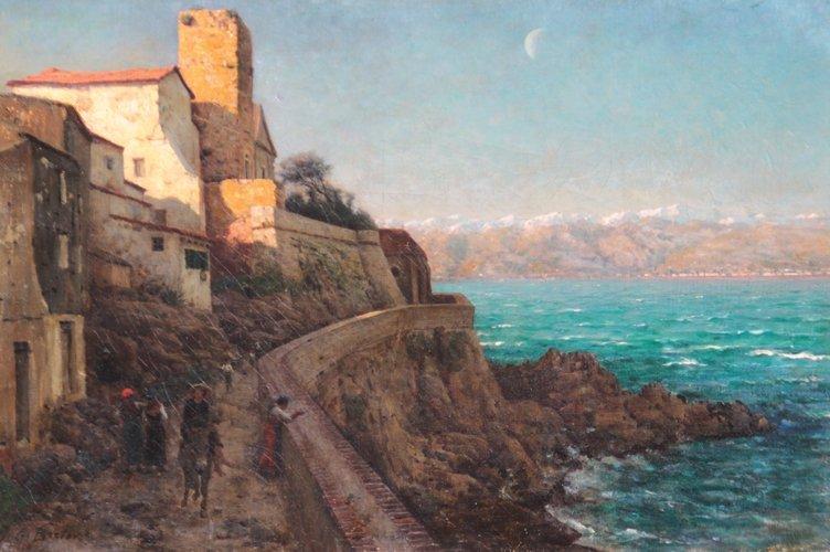 Jules BRETON (1827-1906) Le Cap d'Antibes, les remparts