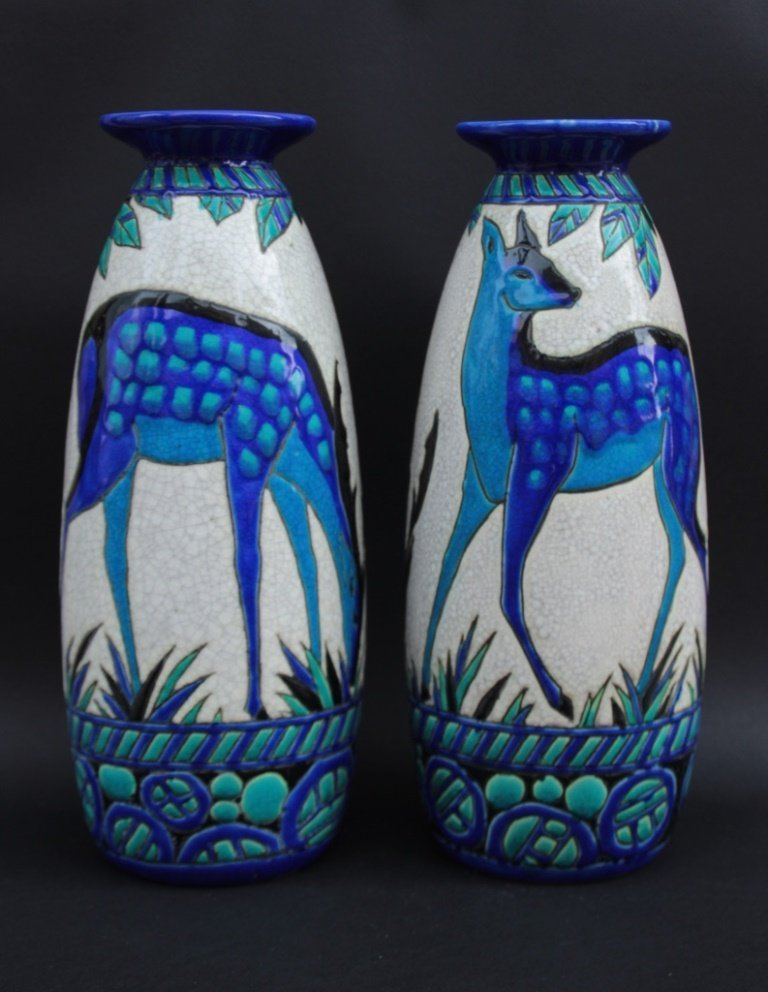 Charles CATTEAU (1880-1966) pour KERAMIS Paire de vases