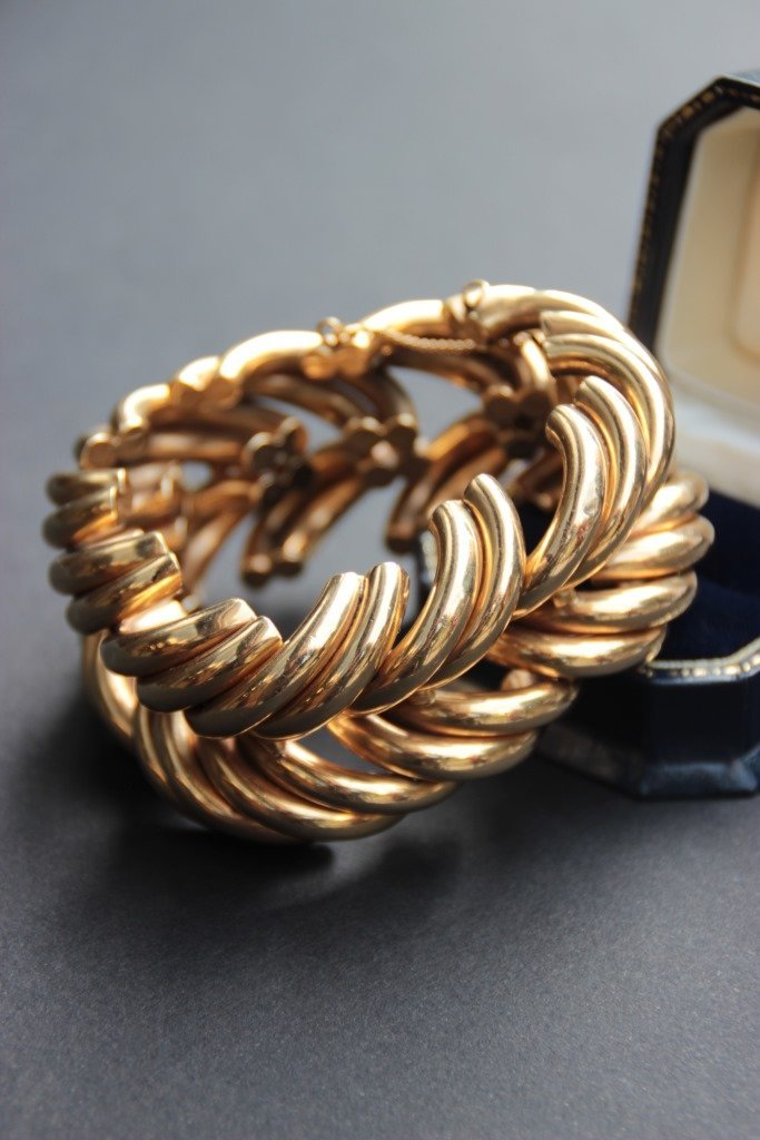 Bracelet en or jaune 14K composé d'importantes mailles