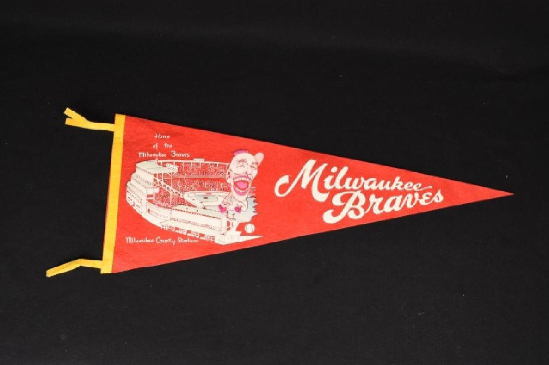 1950's Milwaukee Braves Stadium Baseball Pennant