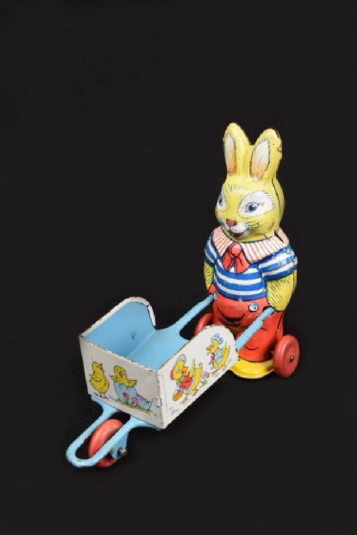 J. Chein & Co. Tin Bunny w/ Wheel Barrow Toy