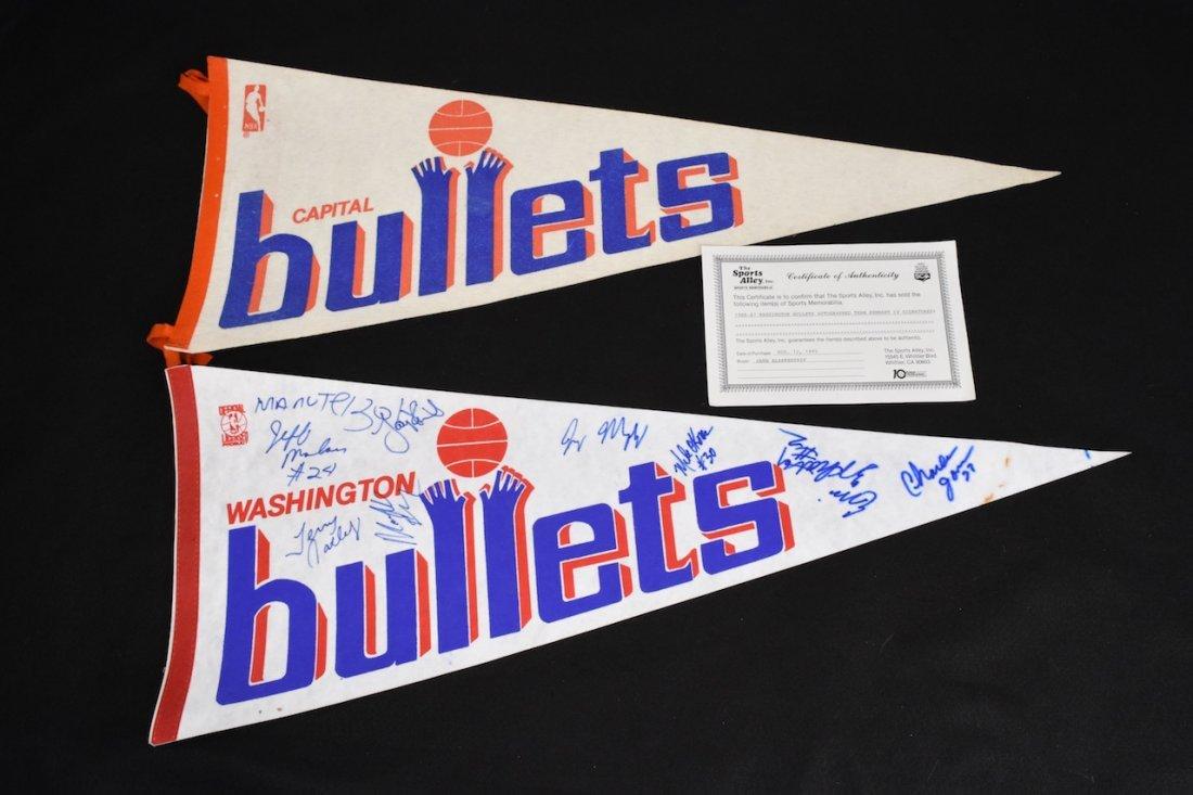 (2) 1980's NBA Bullets Basketball Pennants