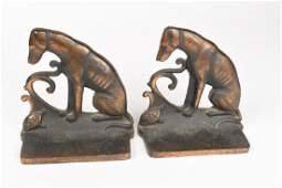 Dog  Turtle Antique Art Deco Cast Iron Bookends