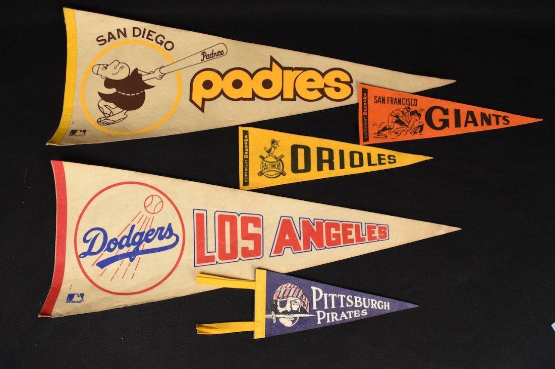 (5) Vint. Baseball Pennants - some Bazooka