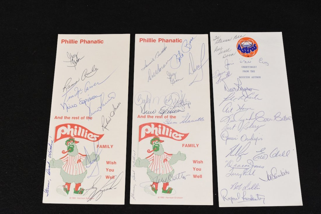 (3) Team Autographed Greeting Cards (Phillies & Astros)